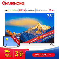 Changhong 75 Inch 4K UHD Android 9.0 Smart TV LED TV (Model:U75H9)