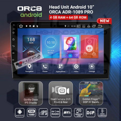 "ORCA ADR-1089 PRO DVR Recorder Android 10"" Head Unit Double Din Tape"