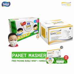 PAKET masker Sensi Duckbill 50 pcs + Masker earloop Sensi Kids 40 pcs
