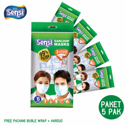 PAKET 5 PAK Masker Sensi Earloop Motif ORIGINAL Isi 6 pcs