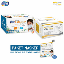 PAKET masker Sensi Duckbill 50 pcs + Masker earloop Sensi motif 40 pcs