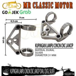 Dudukan/Kupingan Lampu Depan Cincin CNC Lancip Oval CB/GL Silver