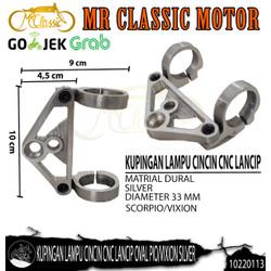 Dudukan/Kupingan Lampu Depan Cincin CNC Lancip Oval Pio/Vixion Silver