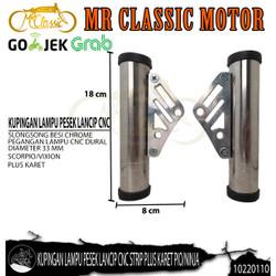 Dudukan/Kupingan Lampu Pesek Lancip CNC Strip Plus Karet Pio/Ninja