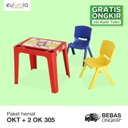 Paket 1 Meja + 2 Kursi Anak Plastik/ Olymplast/ 1 OKT + 2 OK305
