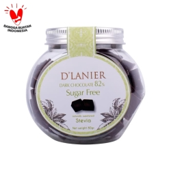 D'Lanier Dark Chocolate 82% with sweetened from Stevia (80gr)