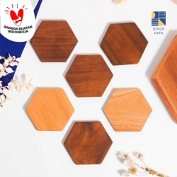 Hexagon Wood Coaster / Tatakan Hexagon Kayu / Alas Gelas/Cangkir