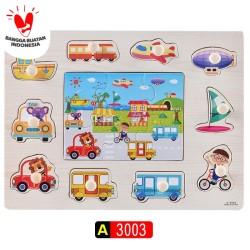Mainan Kayu / Puzzle Kayu / Puzzle Knob Kayu Premium