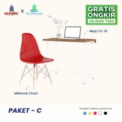New Normal Paket C - Meja Belajar/ Meja Kerja + Kursi