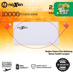 Naxen Slim Power Bank Real Capacity 10000mAh 2 USB Port with Kabel