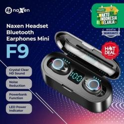 Naxen Headset Bluetooth Earphones Mini F9 TWS 5.0 Wireless Earbuds LED