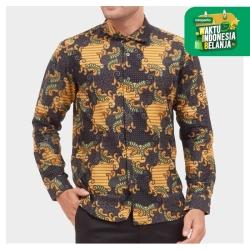 Odza Classic Kemeja Batik Slimfit Modern Pria Lengan Panjang Ambalui