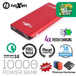 Naxen Power Bank Slim Metal Real Capacity 10000mAh 18W Quick Charger