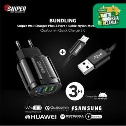 BUNDLING Sniper Wall Charger+3 QC 3.0 Black & Nylon Braided Micro 3ft