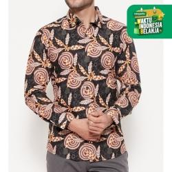 Odza Classic Kemeja Batik Slimfit Modern Pria Lengan Panjang Ambalau