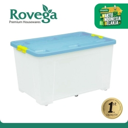 Rovega Kotak Kontainer Plastik Premium dengan 4 Roda 60 Liter BIRU