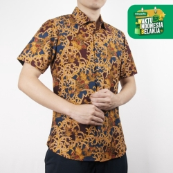 Odza Classic Kemeja Batik Slimfit Modern Pria Lengan Pendek Abaling