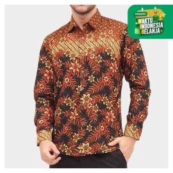 Odza Classic Kemeja Batik Slimfit Modern Pria Lengan Panjang Sandau