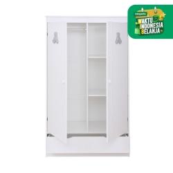 THEO PERLE Wardrobe 2 Doors - White (Lemari) / Lemari Pakaian Anak