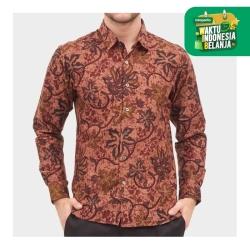 Odza Classic Kemeja Batik Slim Fit Modern Pria Lengan Panjang Mersawa