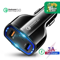 Car Quick Charger Mobil Fast Charging 7A 35W Qualcomm Type C 3 Port