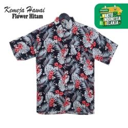 FortKlass Kemeja Hawai Pantai Pria Lengan Pendek Kasual BALI FLOWER