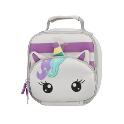 Wigglo Lunch Bag Classic Unicorn Stripe Grey Purple