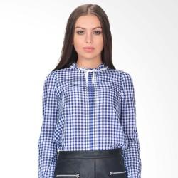 Blouse Wanita Glamour Lengan Panjang Pattern Biru