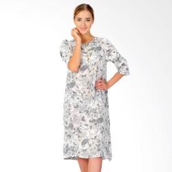 Dress Midi Wanita SJO Castera Lengan 3/4 Putih