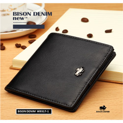 Dompet Pria Kulit Asli Bison Denim Original RFID Blocking Small Wallet