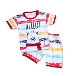 WakaKids Baju Anak Laki Laki Tangan Pendek Kaos Hello Bear 2878