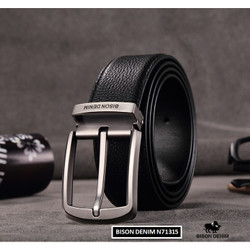 Ikat Pinggang Pria Kulit Asli Bison Denim Original Pin Buckle Simple