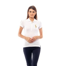 POLO RALPH LAUREN Polo Shirt CUSTOM FIT White Ladies - YD1801EN501