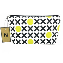 Handmade Black and Yellow Canvas Pouch Cosmetic Bag Dompet Kosmetik