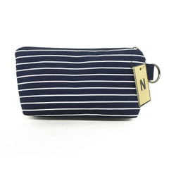 Handmade Navy Stripes Canvas Pouch Cosmetic Dompet Makeup