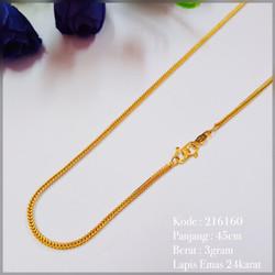 Kalung Rantai Belut Emas Imitasi Perhiasan Lapis Emas Replika Emas Asl