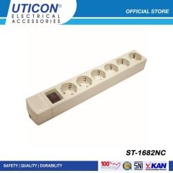 Uticon Stop Kontak 6 Lubang + Saklar ST - 1682NC Original