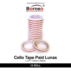 12 ROLL - Cello Tape Paid / Lunas (12mm x 40m)
