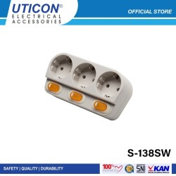 Uticon S-138SW (B) Stop Kontak Arde 3 Lubang