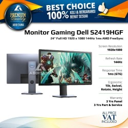 "Monitor LED Gaming Dell S2419 S2419H S2419HGF 24"" 1920x1080 144Hz 1ms"
