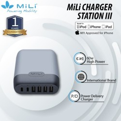 MiLi Adaptor Charger Station III 6 Port Output Quick Charge - Grey