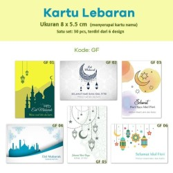 Kartu Lebaran. Kartu Ucapan Selamat Idul Fitri bungkus kado tag label