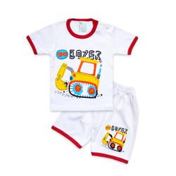 Skabe Baju Anak Laki Laki Tractor Kaos Baby Putih Usia 6-12 Bulan 3284