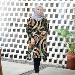 Jual Dress Batik Kombinasi Polos Modern Murah Harga Terbaru 2021