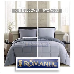 Two Tone ROMANTIC Bedcover Sprei 180 200x20 Abu muda tua Katun Jepang