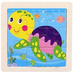 Puzzle Kayu / Jigsaw Puzzle 9 Keping Polos Lucu