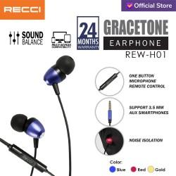 Recci Earphone/Headset GRACETONE REW-H01 / Merah/Biru/Gold