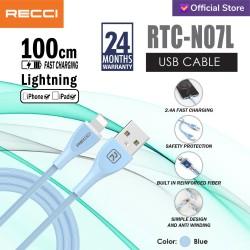 RECCI USB Cable 100CM 2.4A Sillicone wire RTC-N07L IPHONE / BIRU