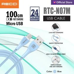 RECCI USB Cable 100CM 2.4A Sillicone wire RTC-N07M MICRO BIRU