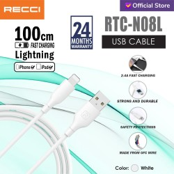 RECCI USB Cable Charger 100CM 2.4A RTC-N08L LIGHTNING IPHONE/ Putih